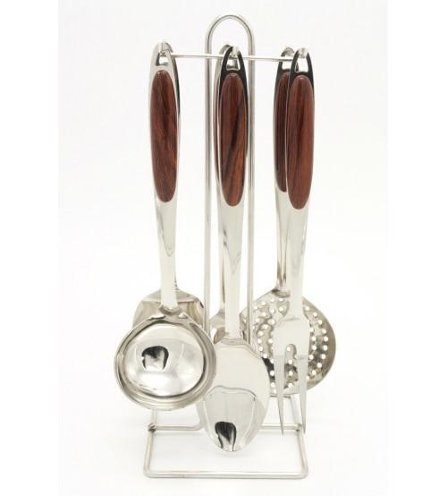0227 Кухонный набор 7 предметов с дерев. ручками