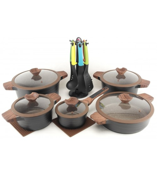 Набор кастрюль (20 предметов) с гранитным покрытием 020 JSC