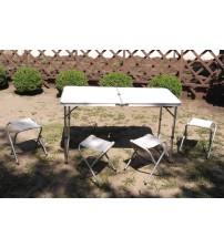 6001 Стол складной для пикника/4 скамейки алюминий
