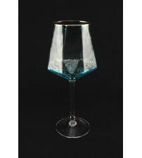 9035 Фужер для вина /небесно-голубого цвета с золотым ободом 530 мл