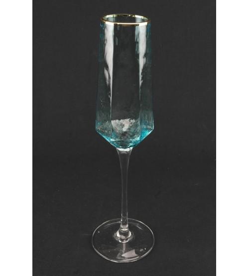 9036 Бокал для шампанского  /небесно-голубого цвета с золотым ободом 190 мл