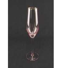 9041 Бокал для шампанского/розового цвета с золотым ободом 210 мл