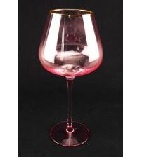 9042 Бокал для вина /розового цвета с золотым ободом 650 мл