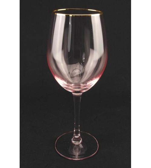 9043 Бокал для вина/ розового цвета с золотым ободом 600 мл