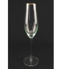 9044 Бокал для шампанского с золотым ободом 210 мл