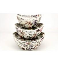 0599 Набор посуды из меламина ( пиала+ поднос ) 6 шт ,18,21,24 см